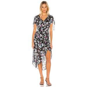 Parker Lizzy Black Floral Midi Dress Size 8